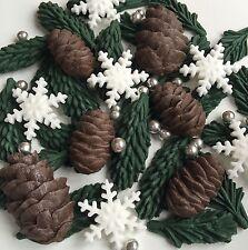 Christmas Cake Toppers Pinecones Fir Snowflake Edible Sugar Cupcake Decorations