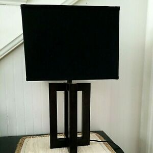 Wood Table Lamp Modern ~ Black Square Shade ~ 2 Available