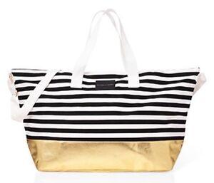 Victoria Secret Blanc Noir Rayure Or Sac Weekend Polochon Voyage Carry Sur Grand