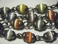 """Pretty Vtg Sterling Multicolor Optic Cat'S Eye Beads / Links 18"""" Necklace"""