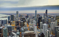 """CHICAGO WINTER USA NEW A4 CANVAS GICLEE ART PRINT POSTER 11.7"""" x 8.3"""""""
