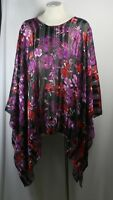 Plus size poncho style top/tunic,floral print, black/plum/red, size1X-2X,3X-4X