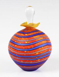Peter Layton studio glass Marrakech pattern perfume bottle and stopper, signed