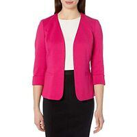 $109 Kasper Ponte Fly Away ROLL Sleeve Jacket with Pockets Lipstick Pink 20W