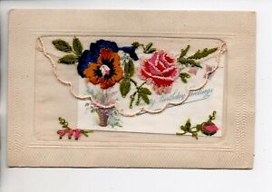 Embroidered Silk - Hearty Birthday Greetings with insert