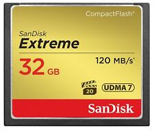 New Sandisk 32GB Extreme Compact Flash CF Memory Card 120MB/s Read 85 MB/s Write