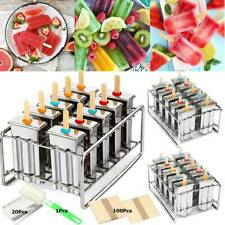 10 Molds Stainless Steel Reusable Ice Cream Making Mould Popsicle Mold DIY