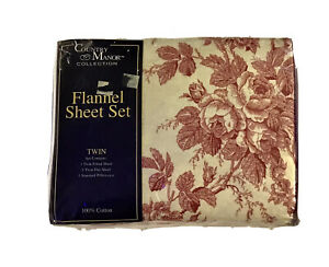 VTG Flannel Sheet Set Twin 100% Cotton Floral Toile Fitted Flat Country Manor