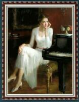 "Hand painted Original Oil Painting art Portrait girl piano on canvas 24""X36"""