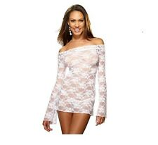 Womens Sexy Lingerie All Lace Long Sleeve Underwear Babydoll G-string White M