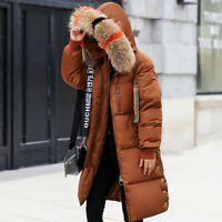 Trendy Jacket Down Coat Parka Long Women Hooded Winter Fur Collar Cotton Quilted