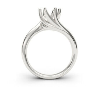 6-prong Swirl 14k gold ring setting only