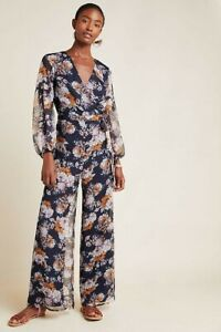 New Anthropologie Jacquard Jumpsuit by Ali  & Jay  MEDIUM Blue Floral $178