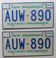 New Brunswick 1987 SUPERB QUALITY License Plate PAIR # AUW-890