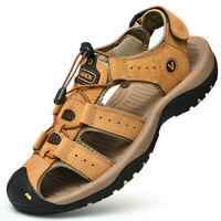 Mens Beach Water Shoes Leather Sandals Flat Outdoor Sports Summer Casual Walk SZ