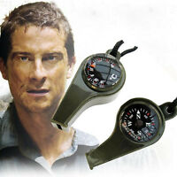 3 in1 Whistle Compass Thermometer Outsports Emergency Survival Gear Tool