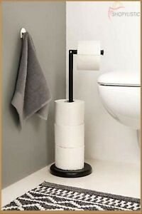 Black Free-standing toilet roll holder Stainless steel Stylish Extra Storage