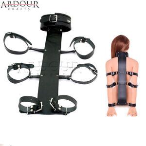 Real Leather Neck to Wrist Restraint Cuff back Bondage Neck Collar & Wrist Cuffs
