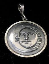 Vintage Sterling Silver Necklace Pendant 925 Mexico Face Signed Sun Moon