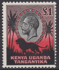 Kenya Uganda & Tanganyika 1935 Mint Mounted £1 Red & Black Cat £325
