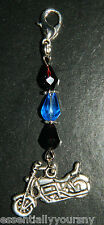 Crystal Silver Motorcycle Clip On Charm Police Thin Blue Line Pendant
