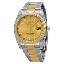 Rolex Datejust Champagne Dial Oyster Bracelet Two Tone Fluted Bezel Mens Watch