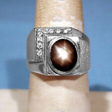 SOLID 14K WHITE GOLD BLACK STAR SAPPHIRE & DIAMONDS MEN'S RING ~ SIZE 8 1/4
