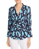 Nic + Zoe Womens Blouse Blue Size Large L Vivid Giraffe Tie Front $148- 123