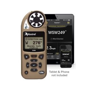 Kestrel 5500 Weather Meter w/ LiNK - Bluetooth, Vane Mount & Case - DESERT TAN