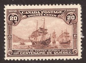 Sc 103 - Canada - 1908 - 20 cent Quebec- MH - *see notes -  superfleas - cv$150