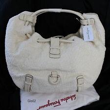 NWT Salvatore Ferragamo Magnolia Fabric Ivory XL Hobo Shoulder Bag Purse $2,250