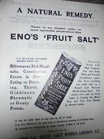 Eno's Fruit Salt a Natural Remedy art advert 1910 print ref AN