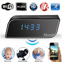 HD 1080P Wifi Spy Camera Motion Security Alarm Clock IR Cam Hidden Nanny Camera