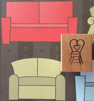 Claudia Rose Cafe Chair Love Heart Bar Stool Wood Mount Rubber Stamp Furniture