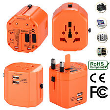 Universal World Travel Adapter With Dual USB Charger Wall AC Power - Orange