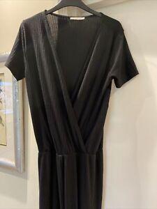Zara Trafaluc Ribbed Black Short Sleeve Jumpsuit Size S