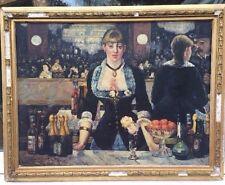 Impressionniste Français Peinture à l'huile de dame en BAR à PARIS signé