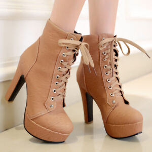 Platform Ankle Boots For Women Round Toe Lace-up Chunky Heel Booties US 6 Brown