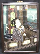 Antique Chinese Reverse Painting on Glass Woman with Fan