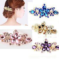 Women Hair Clip Flower Rhinestone Crystal Gift Barrette Jewelry Tiara Hairpin