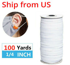6mm 1/4 inch width 100 Yards White Elastic Band Cord Sewing For Diy Face Mask up