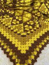 Vintage Mid Century Handmade Crocheted Yellow Brown Throw Afghan