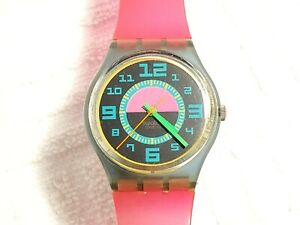 Vintage 1980's Swatch Swiss Made Green Room Quartz Watch Multicolor Dial Women's