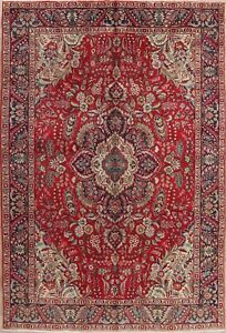 Vintage Floral Traditional Oriental Area Rug Hand-Knotted RED WOOL Carpet 6'x10'