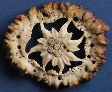 Vintage Antler Hand Carved Bavaria Lederhose Embellishment Edelweiss *[14750]