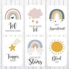 IVF Fertility Milestone Cards, 4x6 Photo Prop, 34 Cards, Rainbows & Clouds