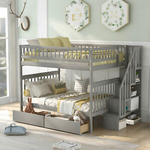 Full Over Full Bunk Bed with Two Drawers and Staircase Functional and Aesthetic