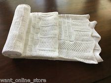 BNWT Rochdale Boutique 100% Pure Cotton Vintage Knit Baby Blanket - Shawl White