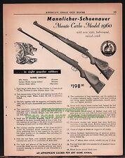 1961 MANNLICHER-SCHOENAUER Monte Carlo Model 1960 Rifle AD