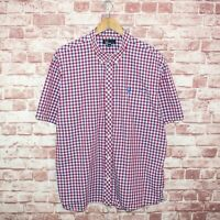 FRED PERRY Men's Short Sleeve Button Down Shirt Blue Red Gingham Sz 2XL